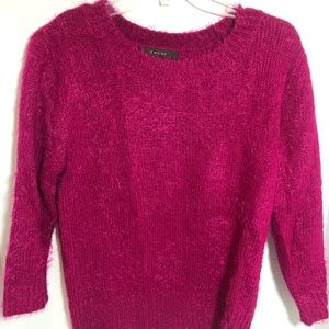 Fever crew neck pink eyelash sweater Medium BNWT